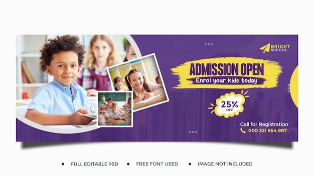 Modello di copertina dei social media per l'ammissione all'istruzione scolastica per bambini