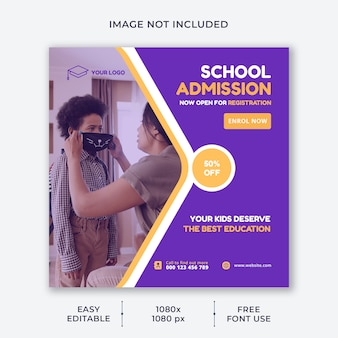 Modello di social media della scuola per bambini