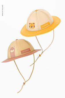 Mockup di cappelli da sole per bambini, fluttuanti