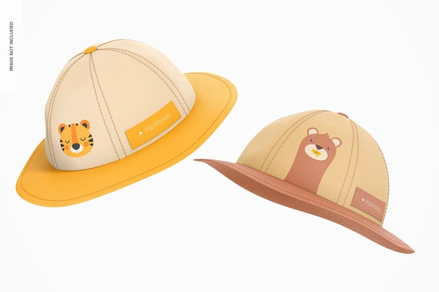 Mockup di cappelli da sole per bambini