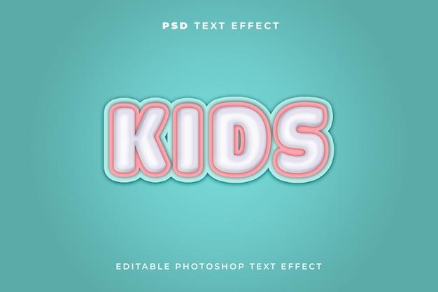 Modello di effetto testo per bambini con sfondo blu