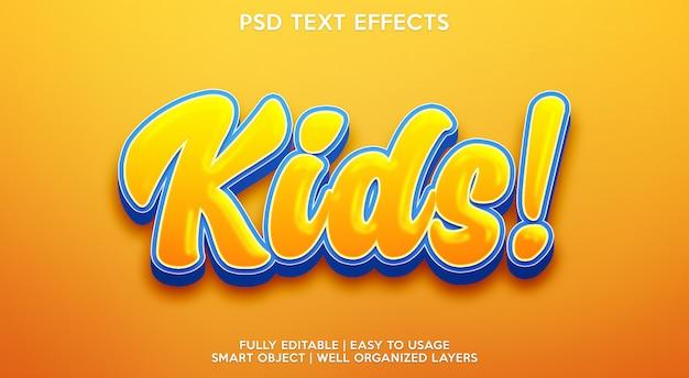 Modello di effetto testo per bambini