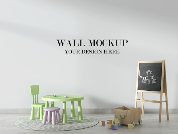 Mockup di muro di scuola materna, scena decorata con lavagna e mobili per bambini