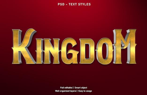 Modello di stile di effetti di testo del regno