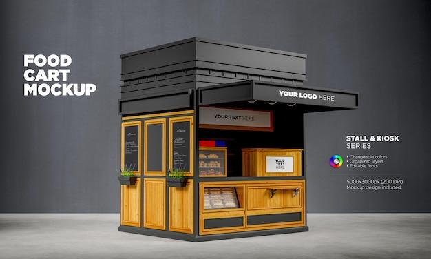 Chiosco o carrello di cibo mockup in rendering 3d