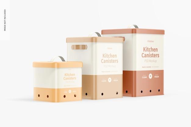 Mockup di contenitori da cucina, vista da sinistra
