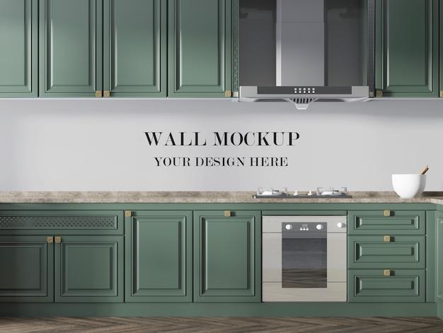 Mockup di cucina per la superficie del muro