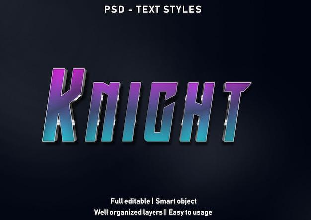 Stile di effetti di testo cavaliere modificabile psd