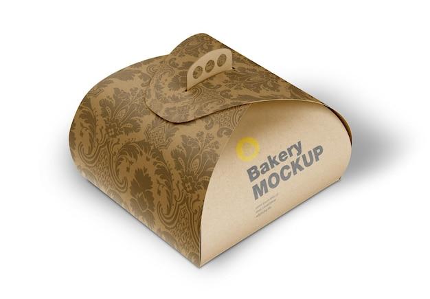 Mockup di scatola kraft con manico Psd Premium