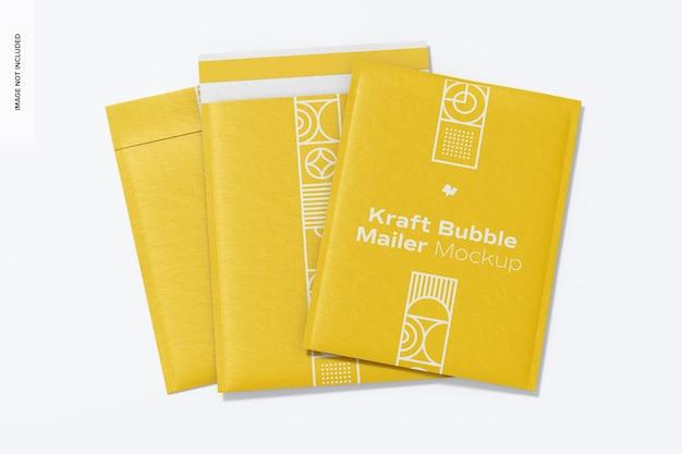 Kraft bubble mailers mockup, viste multiple