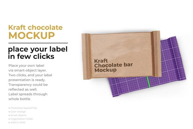 Progettazione di mockup di barretta di cioccolato kraft in rendering 3d