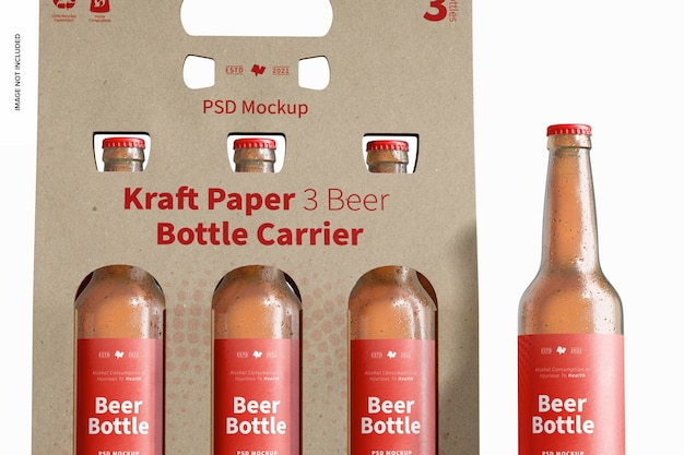 Carta kraft 3 mockup di portabottiglie da birra, primo piano