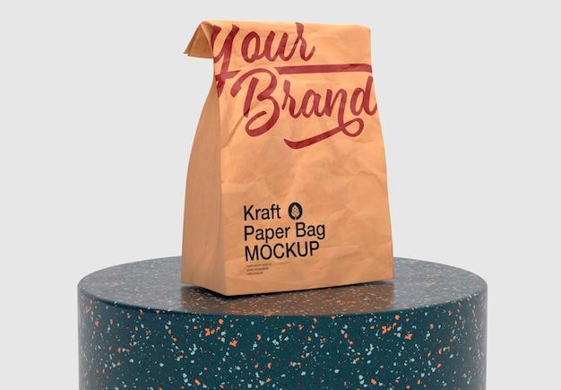 Kraft paper bag mockup design isolato