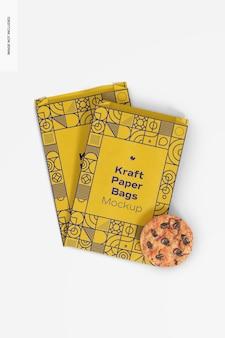 Sacchetti di carta kraft con cookie mockup