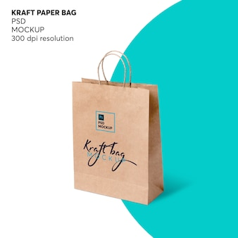 Kraft shopping paper bag mockup
