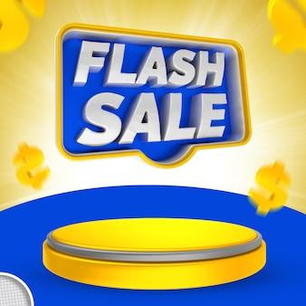 Etichetta flash 3d render banner