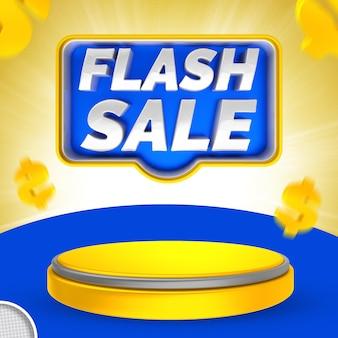 Etichetta vendita flash 3d render banner
