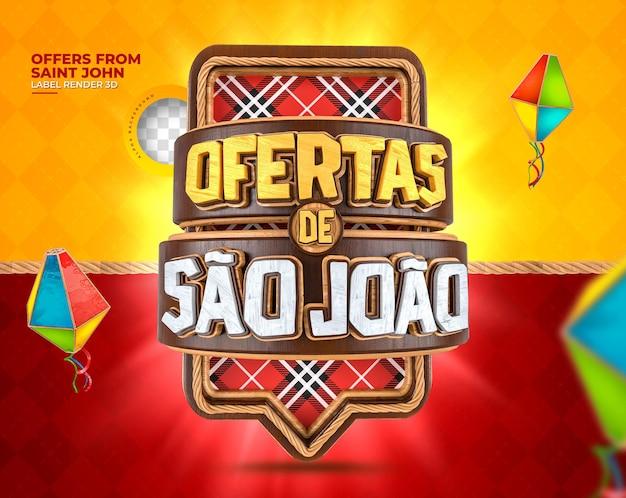 Label offerte sao joao 3d render festa junina in brazil