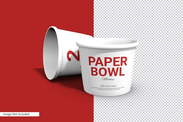 Etichetta carta ciotola tazza mockup isolato