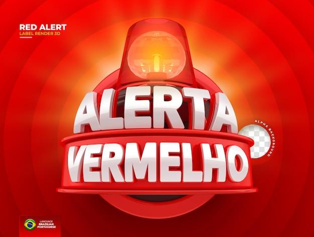 Etichetta l'avviso rosso delle offerte in brasile renderizza il design del modello 3d in portoghese