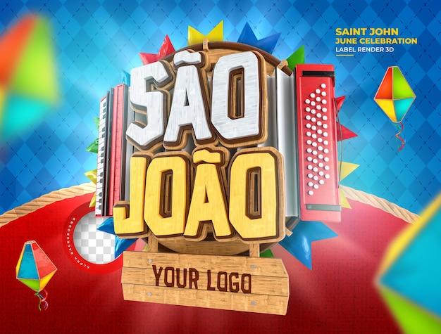 Etichetta sao joao festa junina 3d rendering brasile palloncino realistico