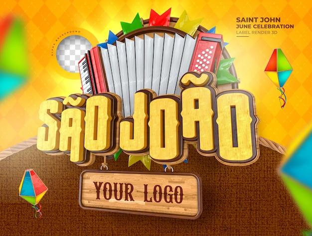 Etichetta sao joao festa junina no brasile 3d render palloncino di mais realistico