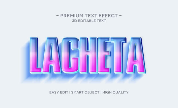 Modello effetto stile testo 3d lacheta