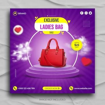 Promozione borsa da donna black friday sale social media post instagram post banner template
