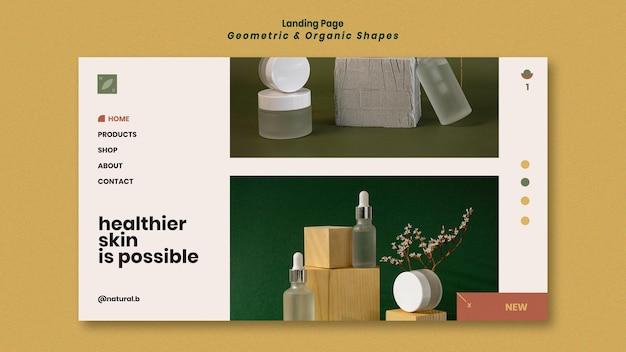 Pagina di destinazione per il podio della bottiglia di olio essenziale con forme geometriche