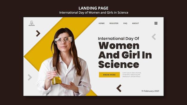 Pagina di destinazione per donne e ragazze internazionali nel giorno della scienza