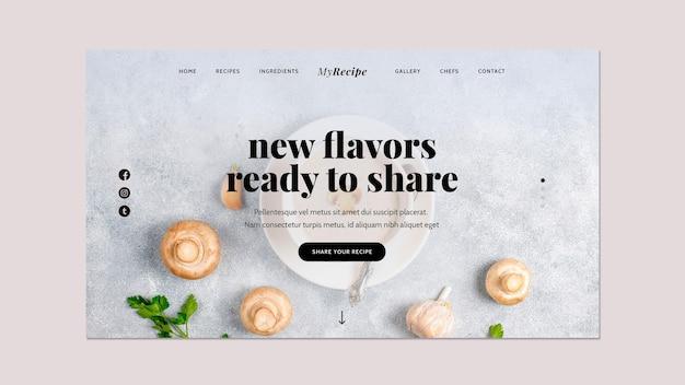 Pagina di destinazione per l'apprendimento delle ricette di cucina