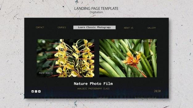 Modello di pellicola fotografica naturale della pagina di destinazione