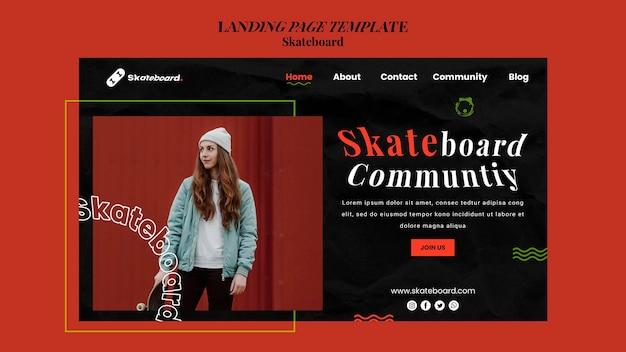 Pagina di destinazione per lo skateboard con la donna