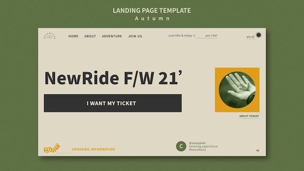 Modello di pagina di destinazione per l'avventura autunnale nella foresta