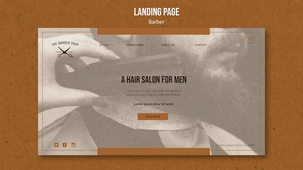 Modello di pagina di destinazione per barbiere