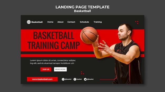 Modello di pagina di destinazione per partita di basket con giocatore maschio