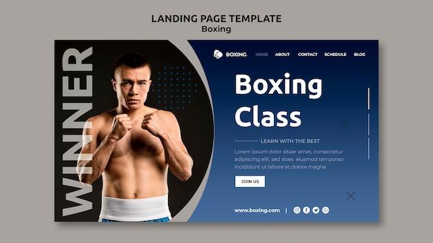 Modello di pagina di destinazione per lo sport di boxe con boxer maschio