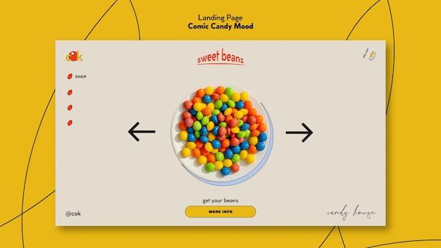 Modello di pagina di destinazione per caramelle in stile fumetto