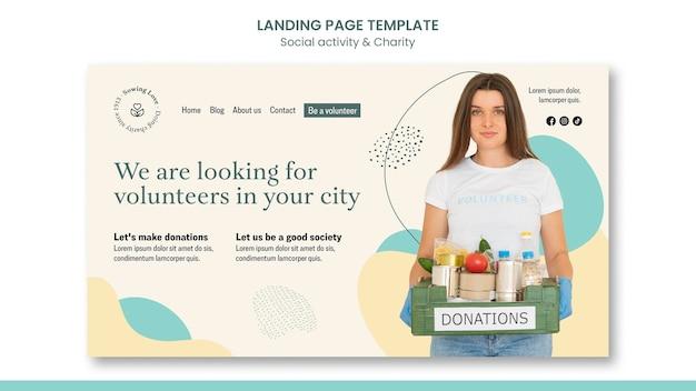 Modello di pagina di destinazione per beneficenza e donazione