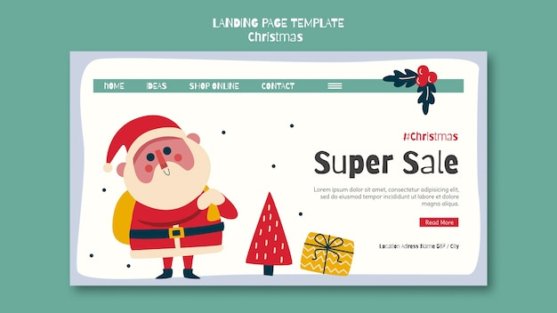 Modello di pagina di destinazione per la vendita dello shopping natalizio
