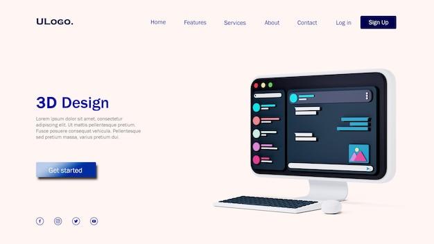 Concetto di modello di pagina di destinazione con desktop del computer in design 3d