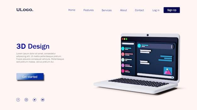 Concetto di modello di pagina di destinazione con laptop in design 3d