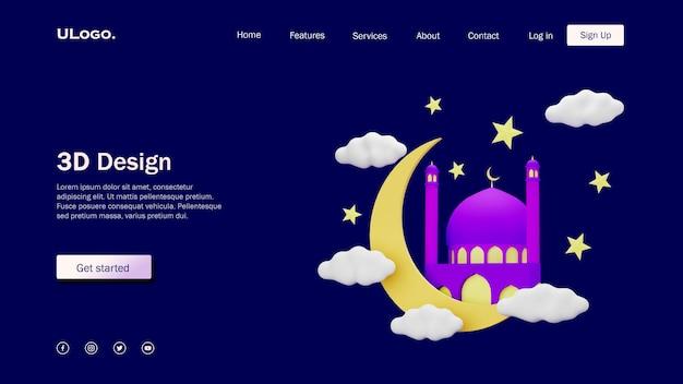 Concetto di modello di pagina di destinazione con moschea in design 3d