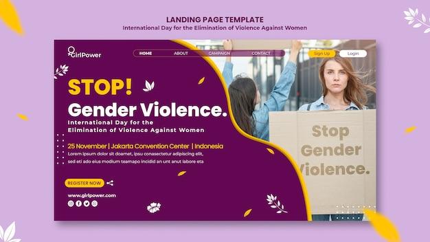Modello di pagina di destinazione per l'eliminazione della violenza contro le donne