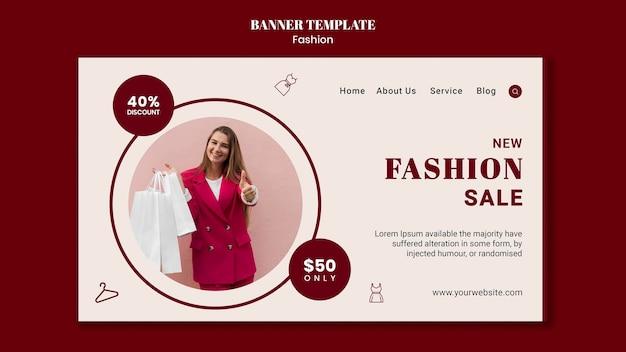 Modello di pagina di destinazione per la vendita di moda con donna e borse della spesa
