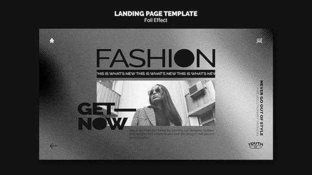 Modello di pagina di destinazione per la moda con effetto lamina
