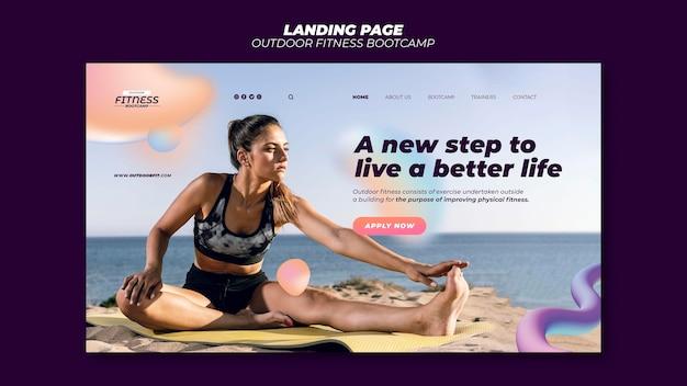 Modello di pagina di destinazione per il fitness all'aperto