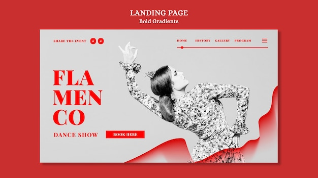 Modello di pagina di destinazione per spettacolo di flamenco con ballerina