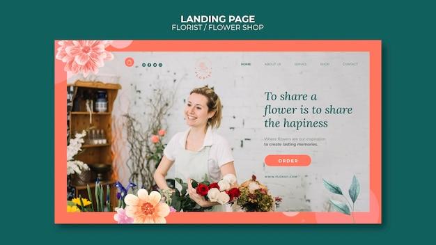 Modello di pagina di destinazione per attività di negozio di fiori