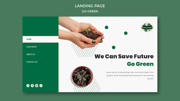 Modello di pagina di destinazione per diventare verde ed ecologico